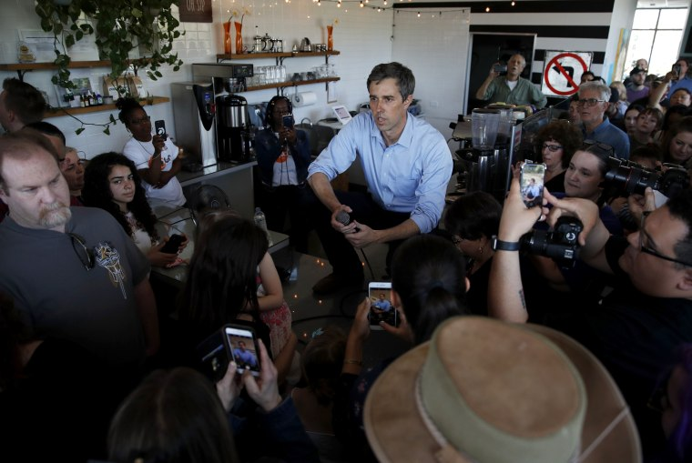 Image: Democratic presidential candidate Beto O'Rourke speaks at a campaign stop at a coffee shop in Las Vegas on March 24, 2019.