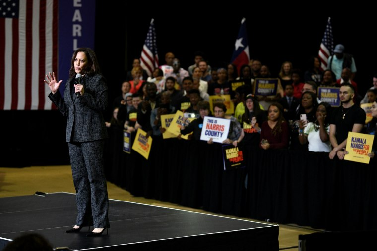 Image: Sen. Kamala Harris, D-Calif., speaks at a presidential campaign rally at Texas Southern University in Houston on March 23, 2019.