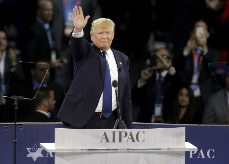 Image: Republican U.S. presidential candidate Donald Trump waves after addressing the American Israel Public Affairs Committee (AIPAC) afternoon general session in Washington