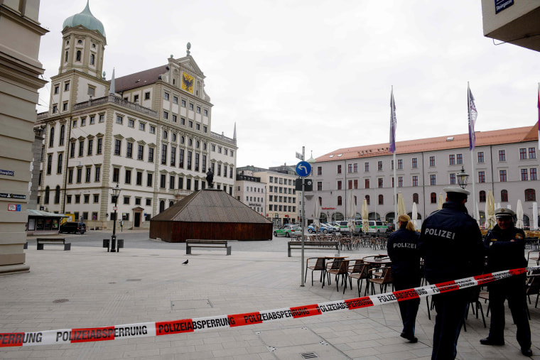 Image: Police have cordoned off the area in front of the city hall of southern town of Augsburg