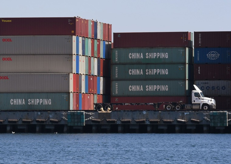 Image: Chinese shipping containers that were unloaded at the Port of Long Beach, in Los Angeles County