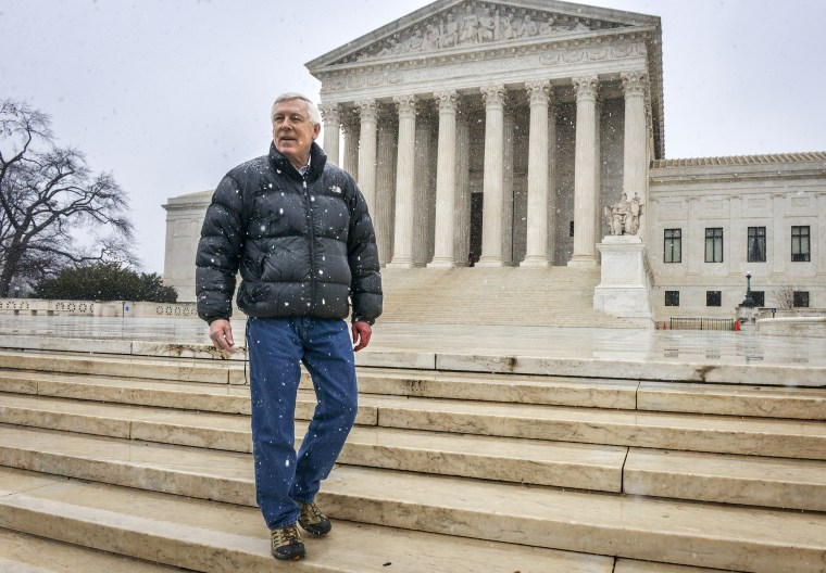 Image: John Sturgeon, here in front of the Supreme Court in 2016, was ordered off the Nation River in the Yukon-Charley Rivers National Preserve in Alaska after they told him it was illegal to operate his noisy hovercraft.