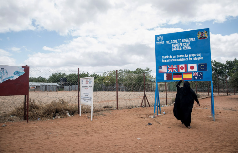 Image: A Somali woman stands in front of a UNHCR sign, which thanks donor countries, at the Dadaab refugee camp in eastern Kenya.