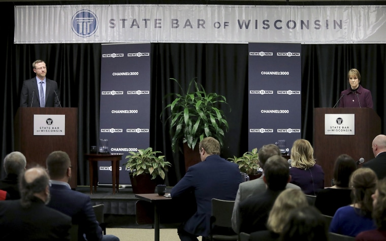 Image: Wisconsin Supreme Court candidates Brian Hagedorn and Lisa Neubauer meet for a debate at the State Bar Center in Madison on March 15, 2019.