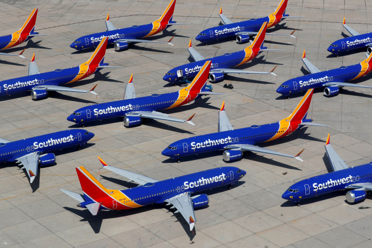 Image: Grounded Southwest Airlines Boeing 737 Max 8 aircraft at the Victorville Airport in California on March 26, 2019.