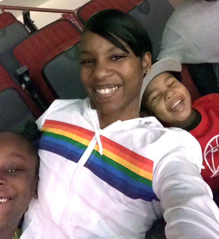 Stephanie Bures with her daughter, Samari, left and son T.J. Jackson Jr., right.