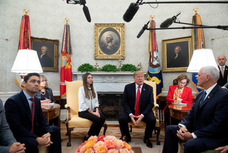 Image: President Donald Trump meets with Fabiana Rosales, the wife of Venezuelan opposition leader Juan Guaido, at the White House on March 27, 2019.