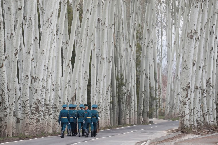 Image: Kyrgyz guards of honour walk away after a welcoming ceremony attended by Presidents Putin of Russia and Jeenbekov of Kyrgyzstan in Bishkek