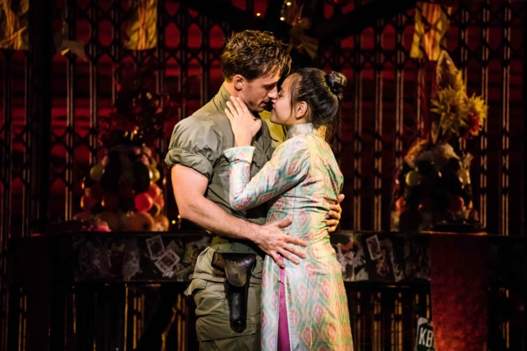 "Image: Anthony Festa and Emily Bautista star in the national tour of the romantic musical ""Miss Saigon."""