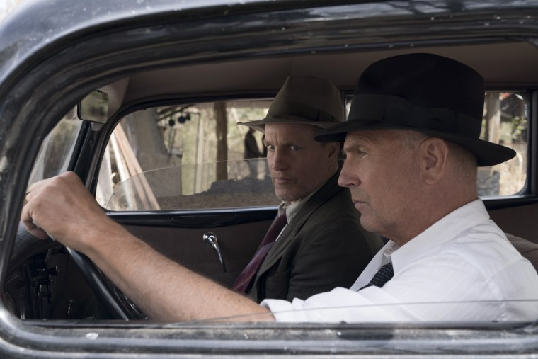 "Image: Woody Harrleson and Kevin Costner star in Netflix's ""The Highwaymen."""