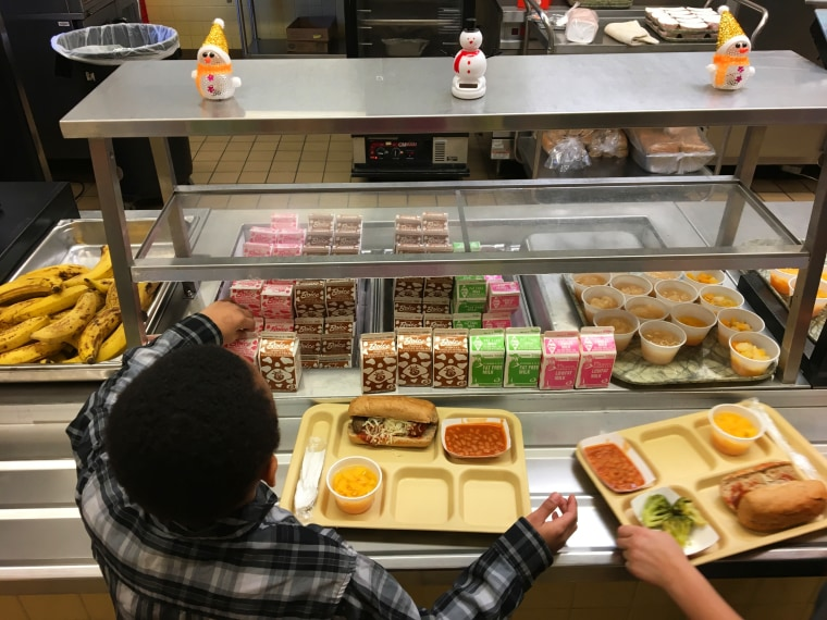 Image: Students fill their lunch trays at J.F.K Elementary School in Kingston, N.Y.