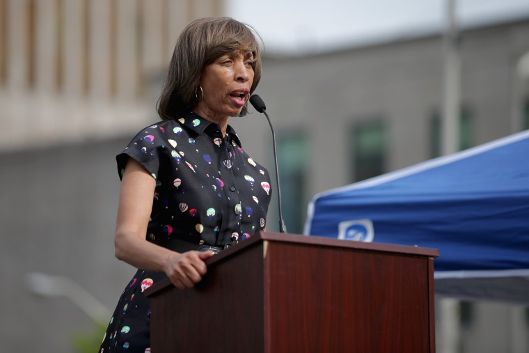 Image: Catherine Pugh addresses a rally to mark the anniversary of the death of Freddie Gray in Baltimore