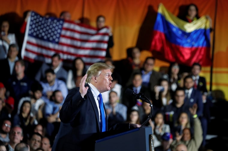 President Donald Trump speaks to the Venezuelan American community in Miami