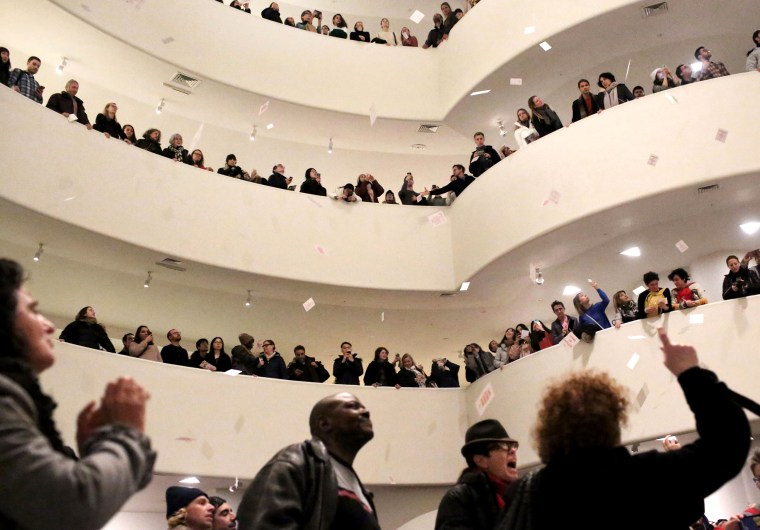 Image: Photographer Nan Goldin and her organization, Prescription Addiction Intervention Now (P.A.I.N.) lead a protest at the Solomon R. Guggenheim Museum against its funding from the Sackler family in New York on Feb. 9, 2019.