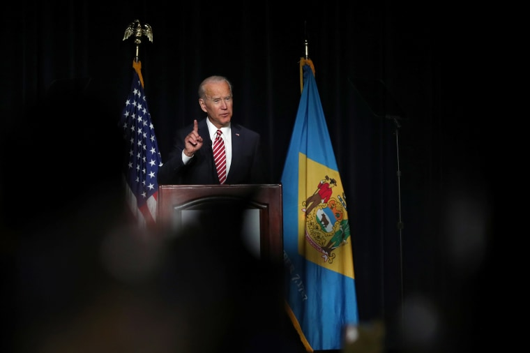 Image: U.S. former Vice President Biden delivers remarks at the First State Democratic Dinner in Dover, Delaware