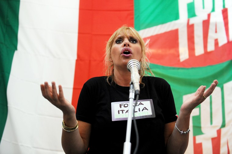 Italian Senator Alessandra Mussolini Holds Rally Ahead Of Election Campaign