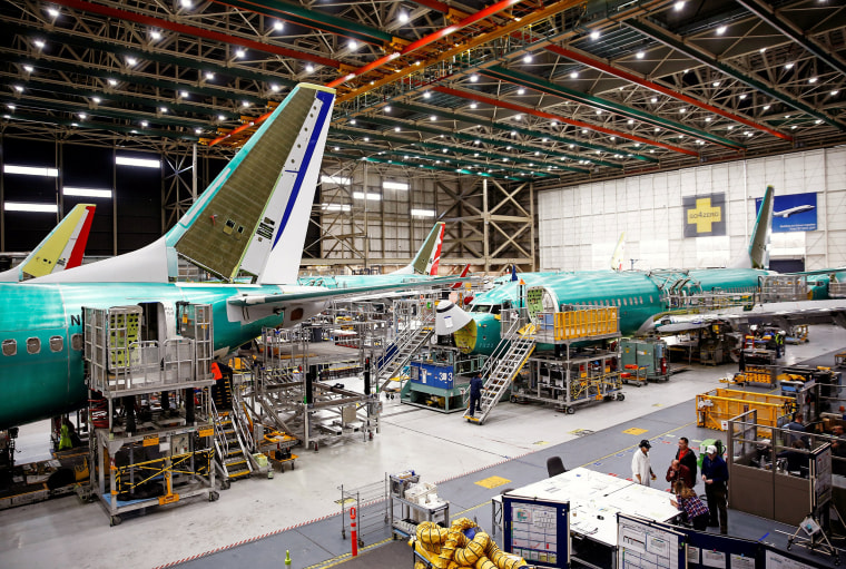 Image: 737 Max aircrafts are pictured at the Boeing factory in Renton