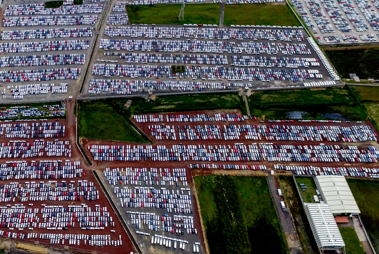 Image: Cars at the Volkswagen plan t in Puebla, Mexico, on Aug. 4, 2018.