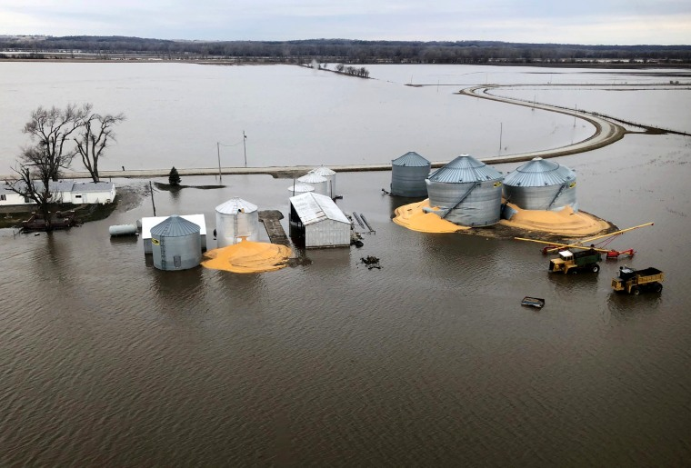 Image: Grain silos that burst from flood damage in Fremont County, Iowa, on March 29, 2019.