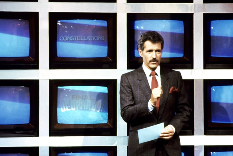 Image: JEOPARDY!, host Alex Trebek (during 'Final Jeopardy' segment), 1984-, (C) ABC / Courtesy: Everett Coll
