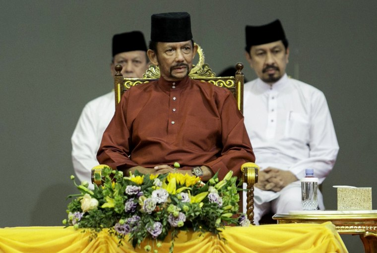 Image: Brunei's Sultan Hassanal Bolkiah attends an event on April 3, 2019.