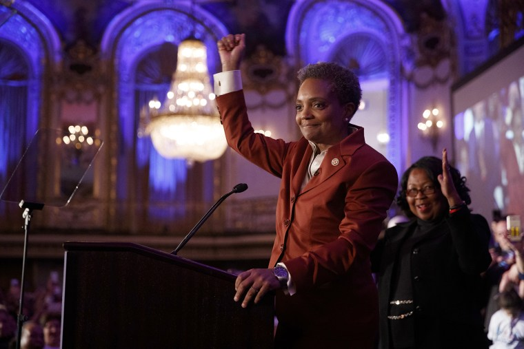 Image: Chicago mayor elect Lori Lightfoot speaks at her election night party in Illinois on April 2, 2019.