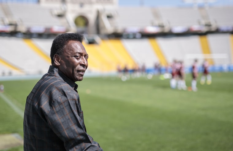 Image: Pele visits the Olympic Stadium in Barcelona on Sept. 2, 2017.