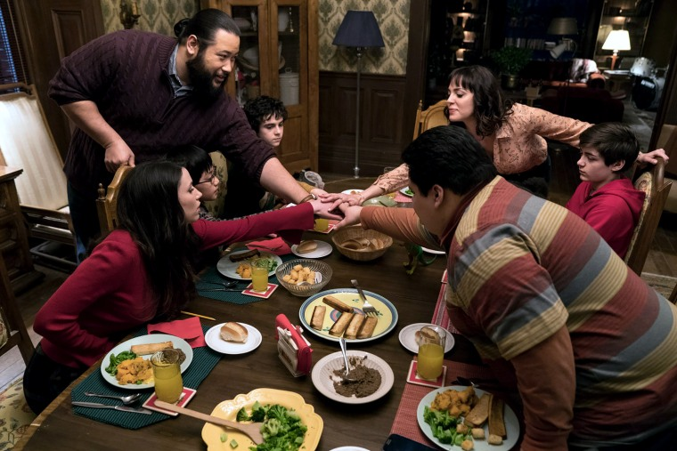 "Grace Fulton as Mary Bromfiels, IIan Chen as Eugene Choi, Cooper Andrews as Victor Vasquez, Jack Dylan Grazer as Freddy Freeman, Marta Milans as Rosa Vasquez, Asher Angel as Billy Batson and Jovan Armand as Pedro Pena in ""SHAZAM!"""