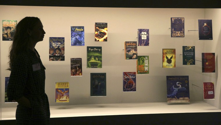 "Harry Potter books published in several languages at the ""Harry Potter - A History of Magic"" exhibition at the British Library in London in 2017."