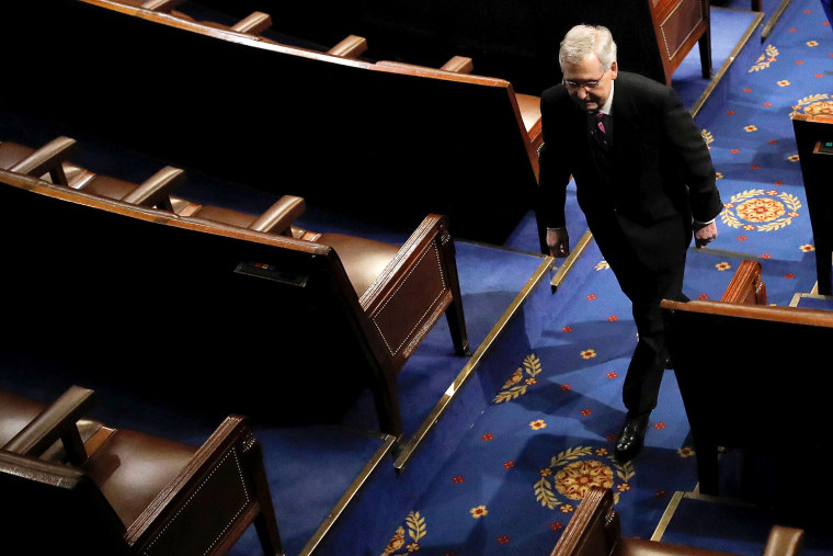 Image: U.S. Senate Majority Leader McConnell departs House Chamber on Capitol Hill in Washington