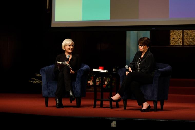 Former Obama advisor Valerie Jarrett speaks to Mika Brzezinski at Temple Emanu-El's Streicker Center in New York City on Tuesday.