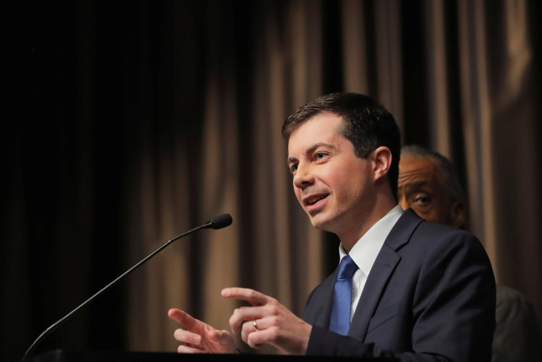 Image: U.S. 2020 Democratic presidential candidate Pete Buttigieg speaks at the 2019 National Action Network National Convention in New York