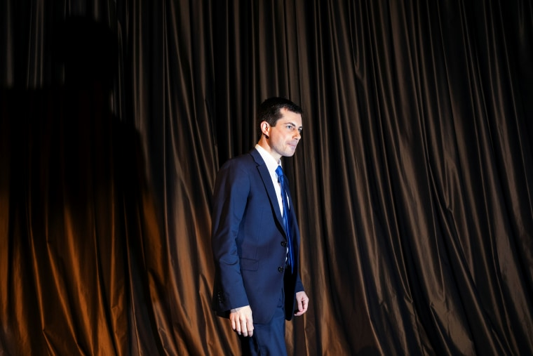 Image: Democratic presidential candidate Pete Buttigieg walks off stage after speaking at the National Action Network National Convention in New York on April 4, 2019.