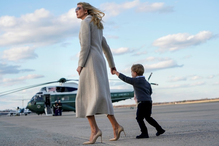 Image: Senior White House Advisor Ivanka Trump and her son Theodore walk from Air Force One at Joint Base Andrews in Maryland