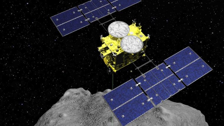 The Hayabusa2 spacecraft above the asteroid Ryugu.