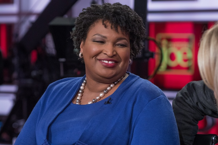 "Former Georgia gubernatorial candidate Stacey Abrams on the set of ""Morning Joe"" on Friday."