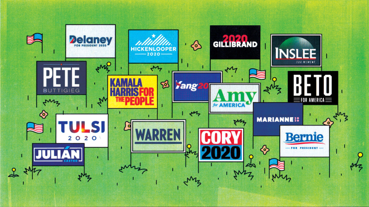 Illustration of campaign logos on lawn signs.