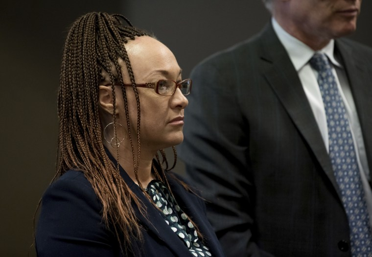 Rachel Dolezal, who now identifies as Nkechi Diallo, listens during an arraignment hearing on a felony charge of welfare fraud on June 20, 2018, at Spokane County Courthouse in Spokane, Washington.