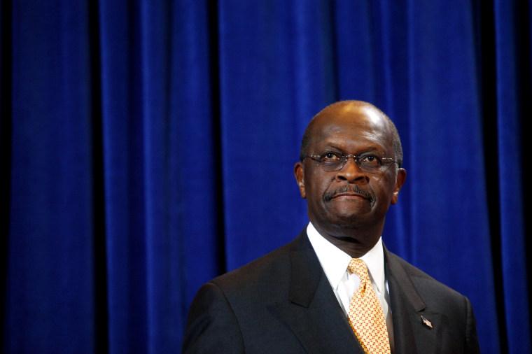 Image: Herman Cain speaks at a press conference in Scottsdale, Arizona, on Nov. 8, 2011.