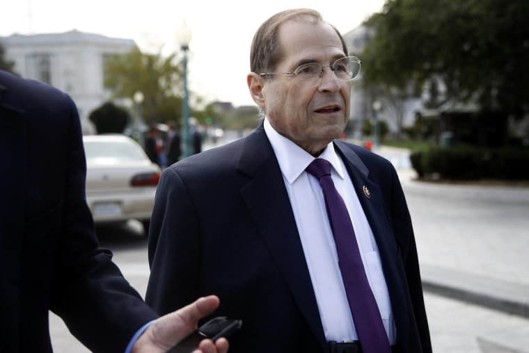Image: JHouse Judiciary Committee Chair Jerrold Nadler speaks with a reporter as he departs a news conference on Capitol Hill on April 4, 2019.