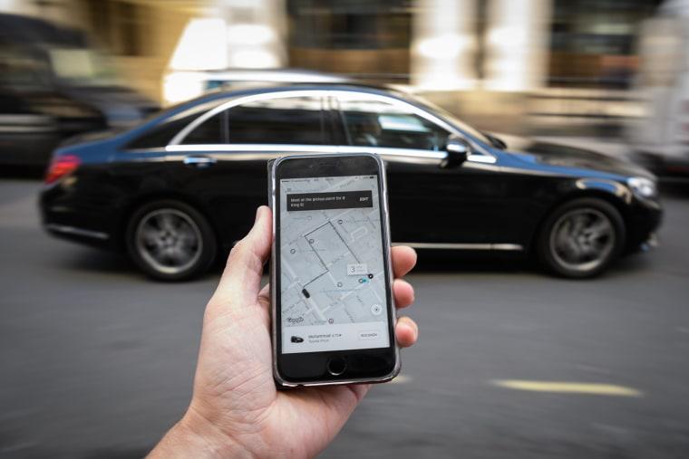 Image: Uber ride-hailing app in London