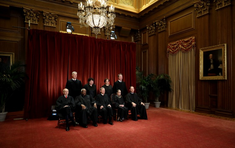 The justices of the Supreme Court gather for a formal group portrait on Nov. 30, 2018.