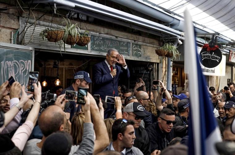 Image: Israeli Prime Minister Benjamin Netanyahu speaks to supporters at the Machane Yehuda market in Jerusalem on April 8, 2019.