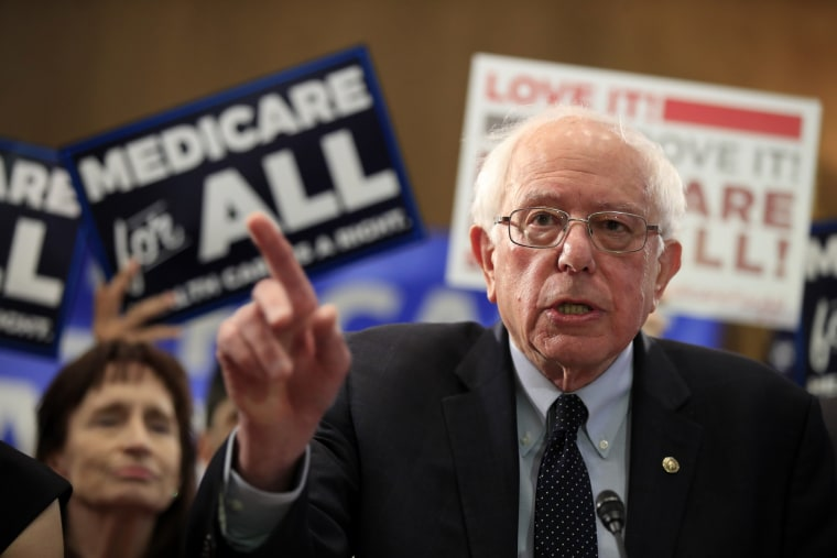 Image: Sen. Bernie Sanders, I-VT, introduces the Medicare for All Act of 2019 on Capitol Hill on April 10, 2019.