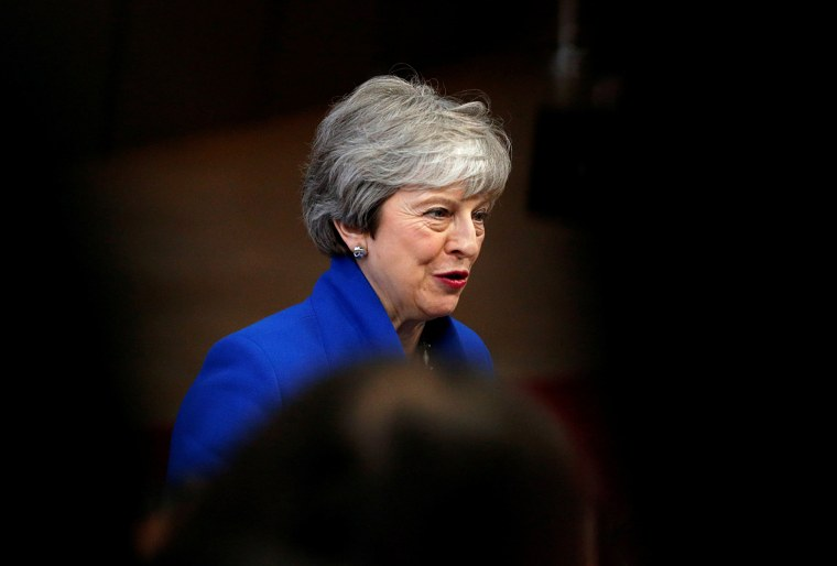 Image: British Prime Minister Theresa May arrives for a European Union leaders summit to discuss Brexit in Brussels, Belgium, on April 10, 2019.