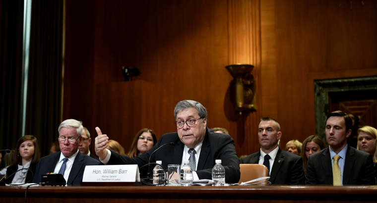 Image: Attorney General William Barr testifies during a subcommittee hearing on Capitol Hill on April 10, 2019.