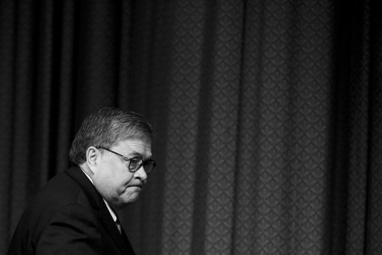Image: Attorney General William Barr arrives to testify before a Senate Appropriations subcommittee on April 10, 2019.