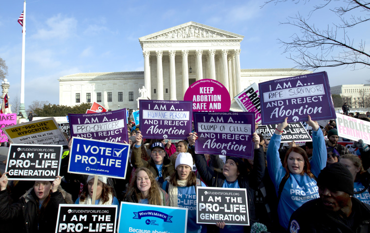 Anti-abortion activists protest outside the Supreme Court during the March for Life on Jan. 18.
