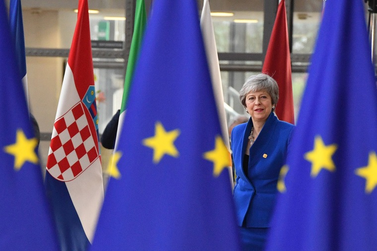Image: Britain's Prime minister Theresa May arrives ahead of a European Council meeting on Brexit at The Europa Building at The European Parliament