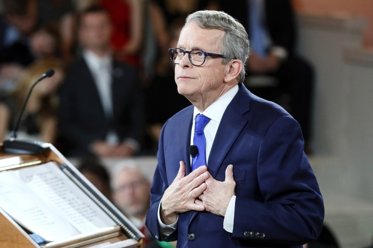 Ohio Gov. Mike DeWine speaks during a public inauguration ceremony at the Ohio Statehouse, in Columbus, Ohio on Jan. 14, 2019.